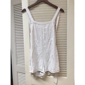 Society Muse White Embroidered Open Back Romper